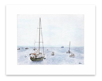 Watercolor painting print - Nautical Scenery - Boats at Woods Hole