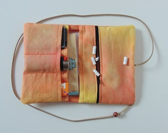 Tobacco bag yellow/orange - with zipper - Upcycling