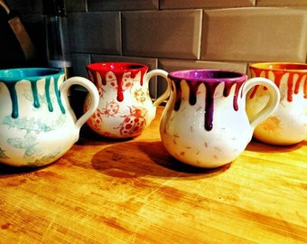 Multi-coloured Bug Mugs Set, Unique hand painted, Ladybird Butterfly Bumblebee, Ants, colourful, custom gift idea, weird and wonderful