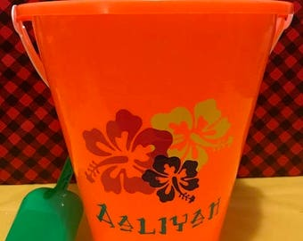 Personalized Sand Beach Bucket Pail, Hawaiian Flowers Beach Pail, Personalized Beach Pail