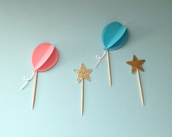 Balloon Cupcake Toppers, Birthday Cupcake Toppers, Balloon Cupcake Picks, Birthday Cupcake Picks