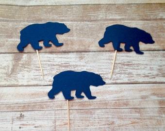 Lumberjack Party Cupcake Toppers, Bear Cupcake Toppers, Bear Cupcake Picks, Camping Cupcake Toppers
