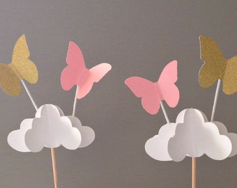 Butterfly Cupcake Toppers, Butterfly Party Decor, Butterfly Cupcake Picks