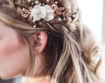 Rose Gold Leaf Hairpiece, Bridal Hairpiece, Rose Gold Wedding, Vintage Hairpiece