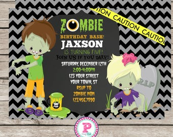 Zombie Birthday Party Invitation Zombie Invite 5x7 Kid Zombie Chevron Caution Zombie Birthday Bash Halloween Walking Dead Boy or Girl Option