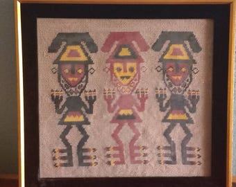 Aztec Figures needlepoint, embroidery
