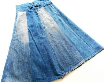CoaCheLLa denim 70s hippie skirt handMade SiZe xS 34 inch 12.5 jeans rock 70s