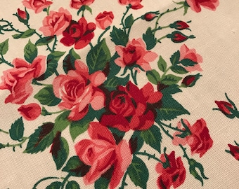 "Wilendur Tablecloth Princess Rose 35"" X 34"" Tablecloth or Topper c. 1954"