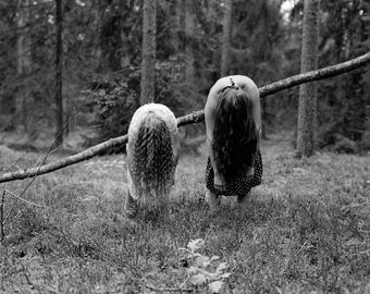 Back to the Roots- Black and White Photography, Forest, Women, B&W Art Print, Medium Film Camera