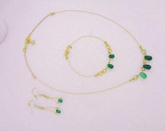 Green Onyx, Czech Glass Earrings