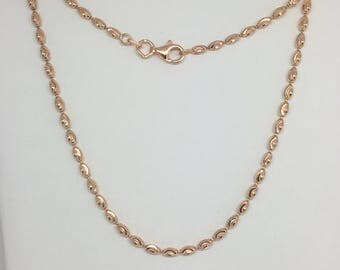 925 Sterling Silver Rose Gold Plated Diamond Cut Rice Bead Chain