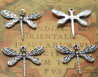 10pcs Dragonfly Charms Silver Tone dragonfly charms pendants 25mx30mm ASD0777