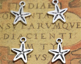 35pcs mini starfish silver tone ocean sea starfish charm pendant 13x17mm ASD2313