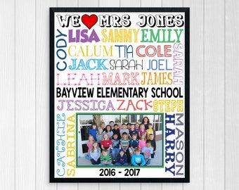 PRINTABLE TEACHER GIFT ~ End of Year Back to School Student Names Classroom Poster ~ Personalized Teacher Sign ~ Gift For Teacher