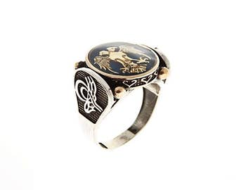 Authentic Ottoman style Anatolian Eagle, double-headed eagle ring for him,  sterling silver ring ZB8056