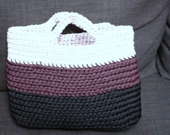 Hand-made tricolor knitted bag