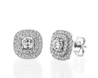 Double Halo Diamond Earrings, Diamond Earrings Set, Diamond Stud Earrings, Double Halo Earrings, Diamond Bridal Earrings, Natural Diamond