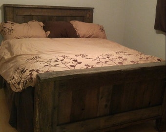 Rustic Barnwood Bed Frame, Headboard,Footboard, King Bed, Queen Bed, Full Bed, Twin Bed