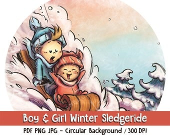 Winter sledge ride with cute boy and girl - Digital Download. Winter theme baby, clip art and digital illustration, PNG JPG PDF 300 dpi