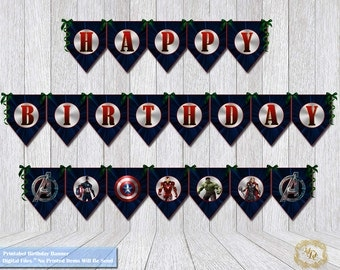 Avengers Birthday Banner.Avengers Party Banner.Avengers Printable Banner.Avengers Party Printable.Party Supplies.Party Decor.Boys.Banners.