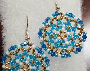 Beautiful Blue and Gold Handmade Beaded Earrings. Great for everyday use, holiday jewelry or any special occasion!!
