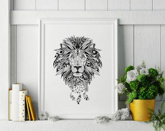 Boho Lion Wall Art, Black and White Lion Wall art, 8x10 Lion Artwork, Lion Art, Boho lion art, Lion Printable, wall art home decor