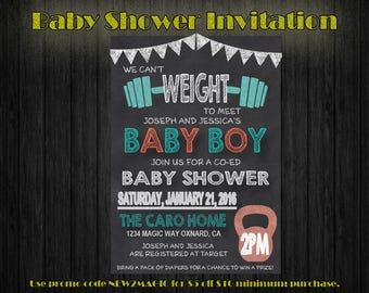 We Can't Weight Baby Shower Invitation