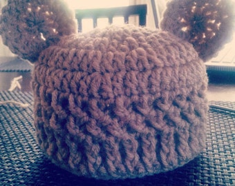 Crochet teddy bear hat. Baby bear hat.