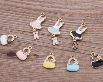 10pcs Crystal Bag Oil Charms Jewelry Oil Dress Pendant fit for Bracelet Necklace Charms DIY Fashion Accessories Making