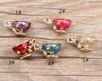10pcs/lot Cup Charms, Enamel Charms,5 Colors Charm Jewelry Supplie, Diy Accessories,Pendants,Necklace Findings