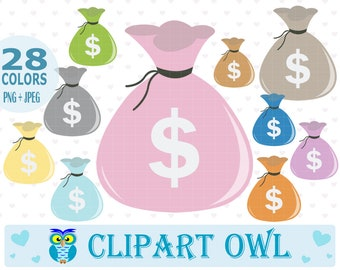 Money Bag Clipart - Set of 56 Graphics - Money Clipart, Cash Clipart, Dollar Clipart, Coin Clipart - Free for Commercial Use.