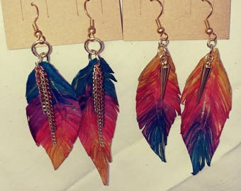 Fire feather dangle leather earrings with gold accents