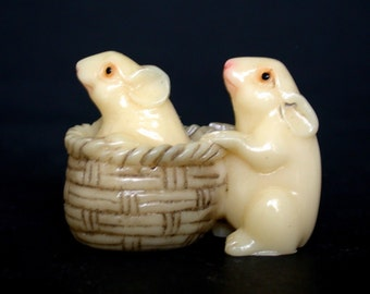 Vintage Japanese Netsuke - 2 Playful Mice/Mouse in Rattan Basket (composite)