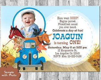 Little Blue Truck Birthday, Little Blue Truck Invitation with Photo, Little Blue Truck Invites, Printable Little Blue Truck, Thank You Card
