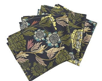 Black Vintage Floral Dinner Napkins - Joy Blooms by Susan Polston - Amarela Cloth Cotton Napkins (Set of 4) by Roostery with Spoonflower