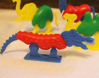 Fun Vintage Menagerie, Plastic Zoo Animals with Interchangeable Parts, Vintage Zoo Set, Interchangeable Heads Tails Bodies