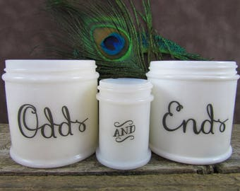 """Repurposed Office Decor Milk Glass Vintage Jars - Upcycled Desk Organization Accessories """"Odds and Ends"""""""