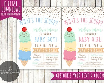 Ice Cream Baby Shower Invitation, Baby Sprinkle Invite - Printable DIY