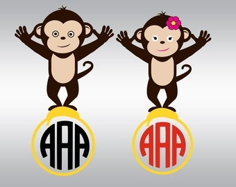 Monkey svg, Monkey clipart, Kids svg, Monogram svg, Monkey face svg, SVG Files, Cricut, Cameo, Cut file, Files, Clipart, Svg, DXF, Png, Eps
