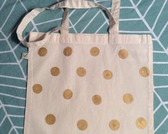 Gold polka dot bag