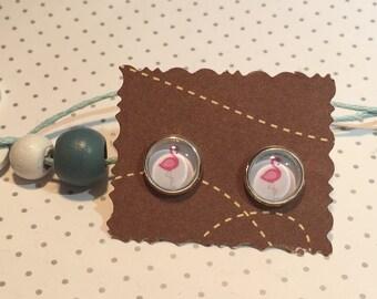 Stud Earrings cabochon Flamingo