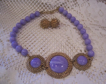 Lilac Color Necklace and Gold Tone Earring Set