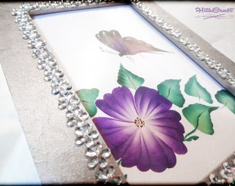 """Wooden photo frame - metal effect and water drop beads - with a paint """"one stroke"""" - the size for the picture 15 cm X 10 cm / 5.90"""" X 3.93"""""""