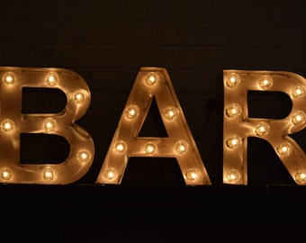 BAR Marquee Sign Metal Letter Light Marquee Letter Light Special Events  Weddings Metal Letters For Wall