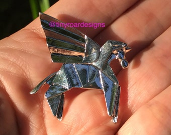 Unicorn pegasus origami pin