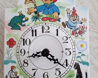Vintage Fairy Tale Enamelware Clock