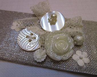 Wedding linen bridal Cuff Bracelet