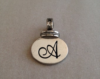 Vintage Silvery Initial A Pendant