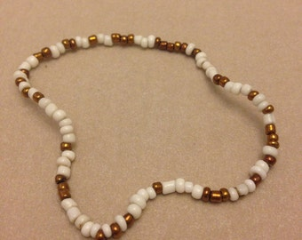 Vintage White and Gold Seed Bead Bracelet