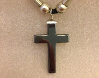 Vintage Hematite Cross Necklace